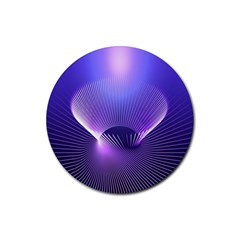 Lines Lights Space Blue Purple Rubber Round Coaster (4 Pack)