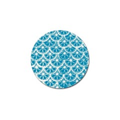 Lime Blue Star Circle Golf Ball Marker