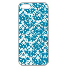 Lime Blue Star Circle Apple Seamless Iphone 5 Case (clear)
