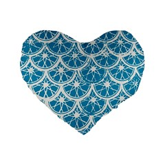 Lime Blue Star Circle Standard 16  Premium Heart Shape Cushions