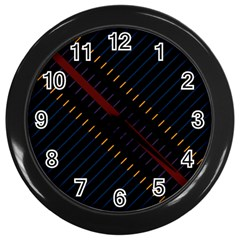 Material Design Stripes Line Red Blue Yellow Black Wall Clocks (black)