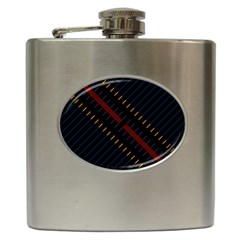 Material Design Stripes Line Red Blue Yellow Black Hip Flask (6 Oz)