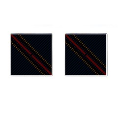 Material Design Stripes Line Red Blue Yellow Black Cufflinks (square)