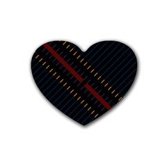 Material Design Stripes Line Red Blue Yellow Black Rubber Coaster (heart)