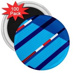 Minimal Swim Blue Illustration Pool 3  Magnets (100 Pack)