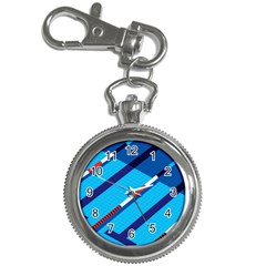Minimal Swim Blue Illustration Pool Key Chain Watches