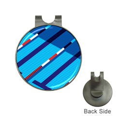 Minimal Swim Blue Illustration Pool Hat Clips With Golf Markers