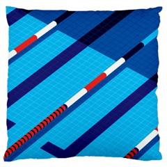 Minimal Swim Blue Illustration Pool Large Cushion Case (two Sides)