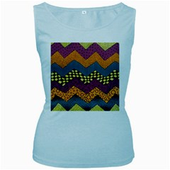 Painted Chevron Pattern Wave Rainbow Color Women s Baby Blue Tank Top