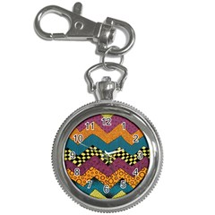 Painted Chevron Pattern Wave Rainbow Color Key Chain Watches