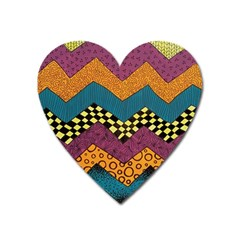 Painted Chevron Pattern Wave Rainbow Color Heart Magnet