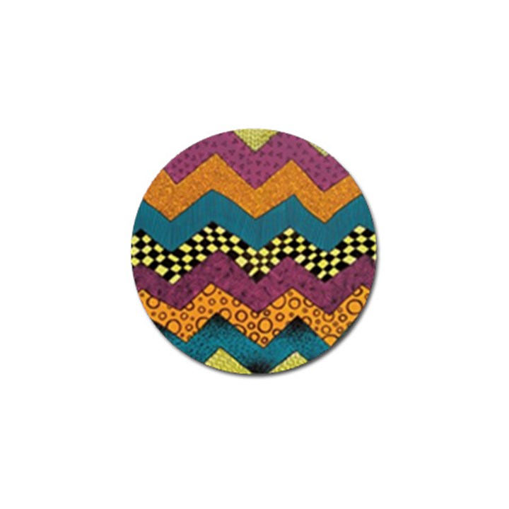 Painted Chevron Pattern Wave Rainbow Color Golf Ball Marker