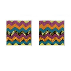 Painted Chevron Pattern Wave Rainbow Color Cufflinks (square)