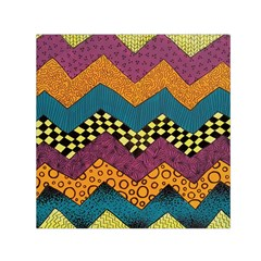 Painted Chevron Pattern Wave Rainbow Color Small Satin Scarf (square)