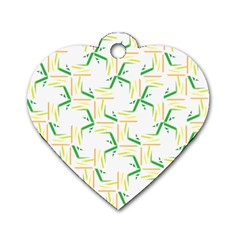Patterns Boomerang Line Chevron Green Orange Yellow Dog Tag Heart (two Sides)