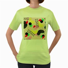 Pink Circle Red Pattern,sexy Women s Green T Shirt