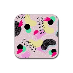 Pink Circle Red Pattern,sexy Rubber Square Coaster (4 Pack)