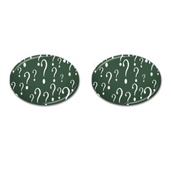 Question Mark White Green Think Cufflinks (oval)