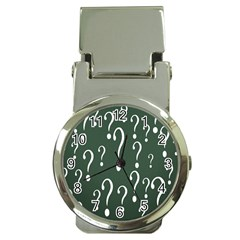 Question Mark White Green Think Money Clip Watches