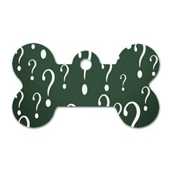 Question Mark White Green Think Dog Tag Bone (two Sides)