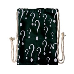 Question Mark White Green Think Drawstring Bag (small)