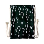 Question Mark White Green Think Drawstring Bag (Small) Back