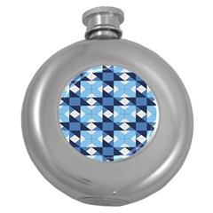 Radiating Star Repeat Blue Round Hip Flask (5 Oz)