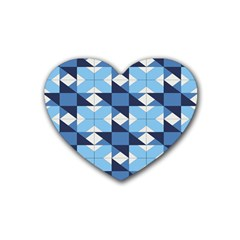 Radiating Star Repeat Blue Heart Coaster (4 Pack)