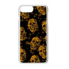 Sparkling Glitter Skulls Golden Apple Iphone 7 Plus White Seamless Case