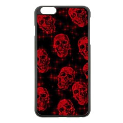 Sparkling Glitter Skulls Red Apple Iphone 6 Plus/6s Plus Black Enamel Case