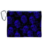 Sparkling Glitter Skulls Blue Canvas Cosmetic Bag (XL) Front