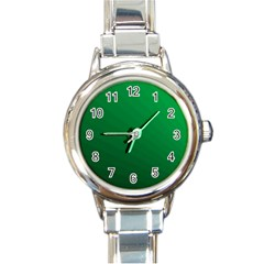 Green Beach Fractal Backdrop Background Round Italian Charm Watch