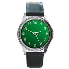 Green Beach Fractal Backdrop Background Round Metal Watch