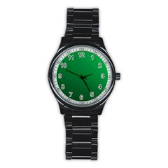 Green Beach Fractal Backdrop Background Stainless Steel Round Watch
