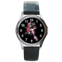 Colour Of Nature Fractal A Nice Fractal Coloured Garden Round Metal Watch