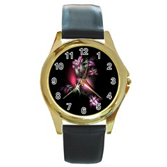 Colour Of Nature Fractal A Nice Fractal Coloured Garden Round Gold Metal Watch