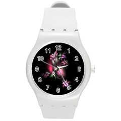 Colour Of Nature Fractal A Nice Fractal Coloured Garden Round Plastic Sport Watch (M)