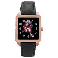 Colour Of Nature Fractal A Nice Fractal Coloured Garden Rose Gold Leather Watch