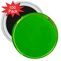 Green Circle Fractal Frame 3  Magnets (100 Pack)