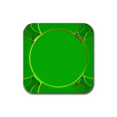 Green Circle Fractal Frame Rubber Square Coaster (4 Pack)