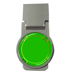 Green Circle Fractal Frame Money Clips (Round)