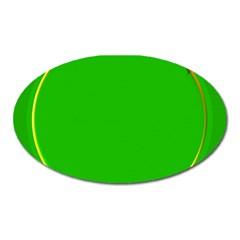Green Circle Fractal Frame Oval Magnet