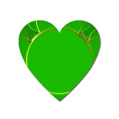 Green Circle Fractal Frame Heart Magnet