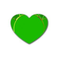 Green Circle Fractal Frame Heart Coaster (4 Pack)