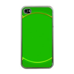Green Circle Fractal Frame Apple iPhone 4 Case (Clear)