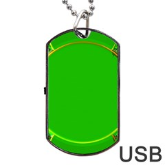 Green Circle Fractal Frame Dog Tag USB Flash (Two Sides)