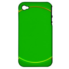 Green Circle Fractal Frame Apple iPhone 4/4S Hardshell Case (PC+Silicone)