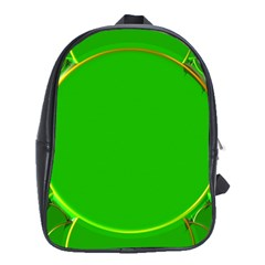 Green Circle Fractal Frame School Bags (XL)