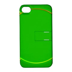 Green Circle Fractal Frame Apple iPhone 4/4S Hardshell Case with Stand