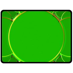 Green Circle Fractal Frame Double Sided Fleece Blanket (Large)